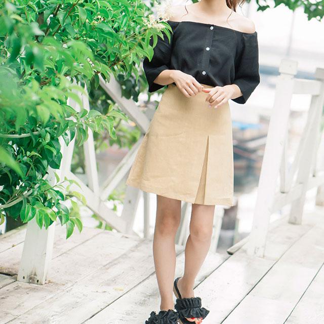 <Summer Sale!!>linen slit skirt[161M]