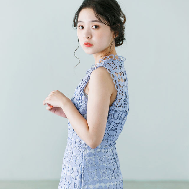 <Summer Sale!!>total lace sleeveless onepiece[163E]