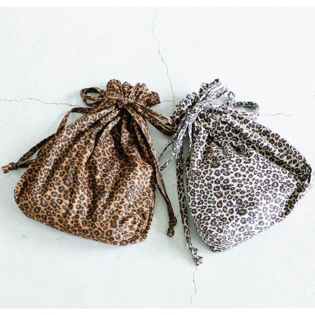 <FINAL SALE>leopard drawstring bag [164B]