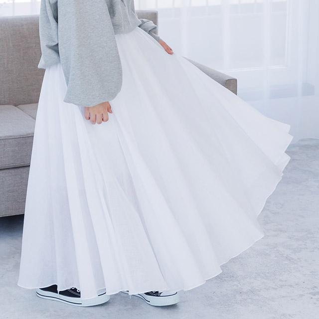 コットンマキシフレアスカート(全3色)[1662M]