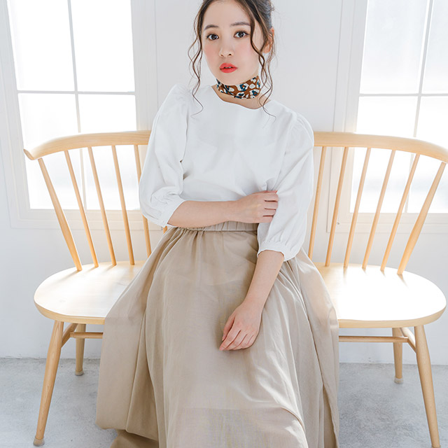 <CLEARANCE SALE>cotton maxi flare skirt[1662M]
