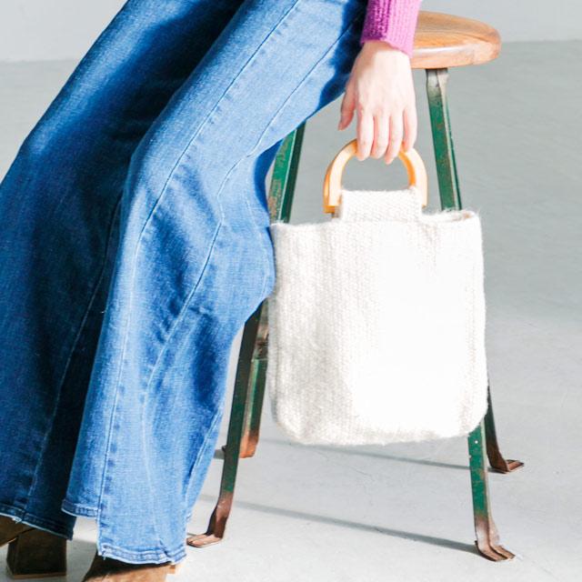 wood handle knit bag[166B]