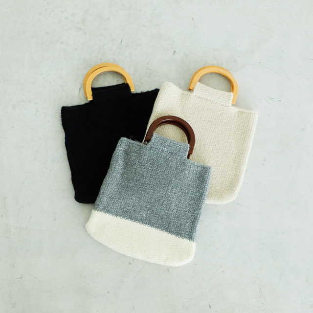 <FINAL SALE>wood handle knit bag[166B]