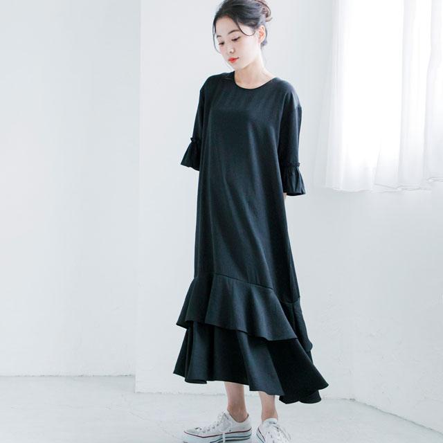 裾フリルマキシワンピ(全3色)[166E]