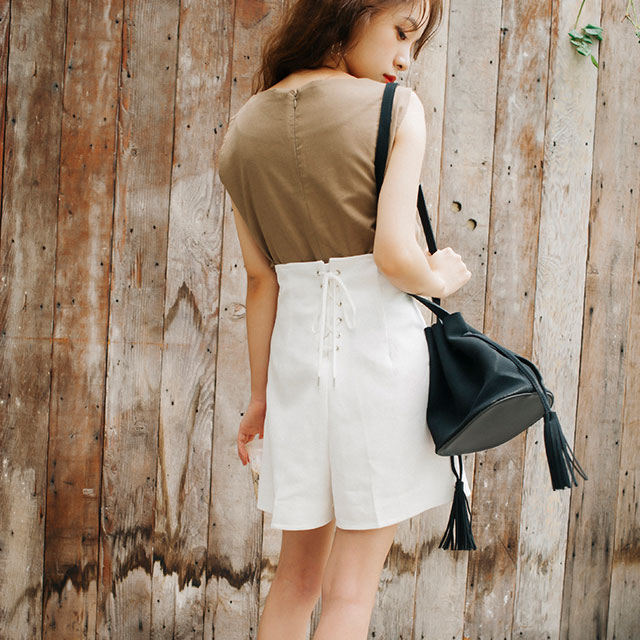 <bottom fair!!6/8(mon)am11:59まで><Sale!!>linen blend lace-up shorts[166M]