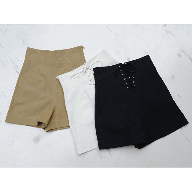 <Summer Sale!!>linen blend lace-up shorts[166M]