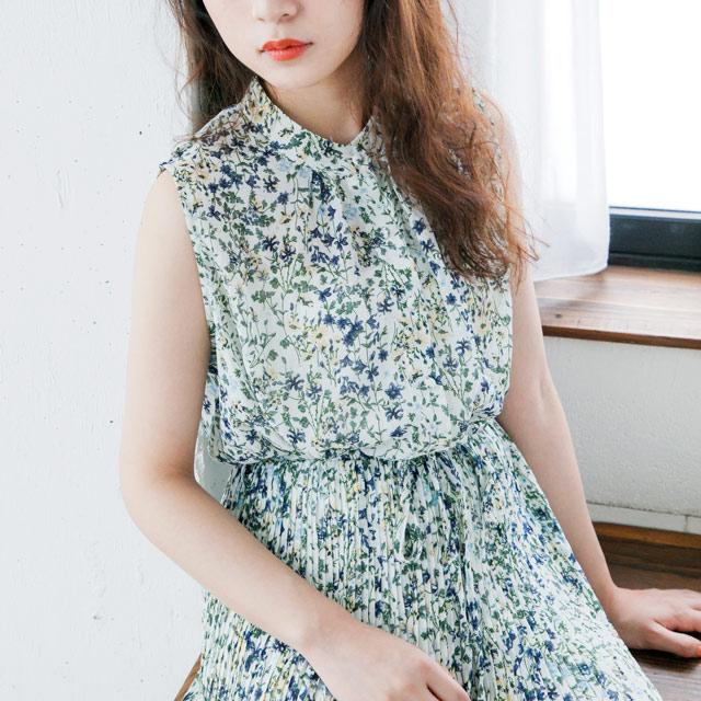 花柄プリーツノースリーブワンピ(全2色)[168E]