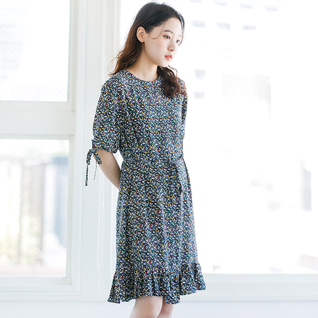 <Summer Sale!!>sleeve ribbon floral dress[170E]