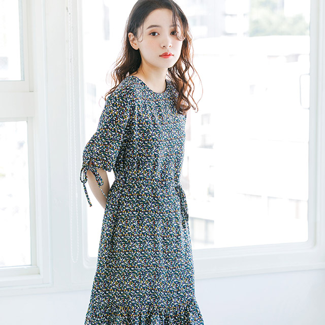 sleeve ribbon floral dress[170E]