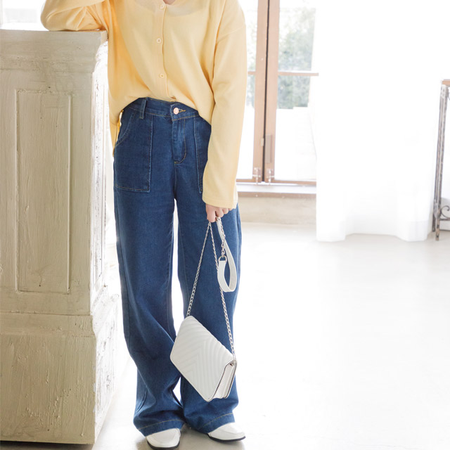 【★mina5月号掲載】ハイウエストストレートワイドデニムパンツ(全1色)[170M]
