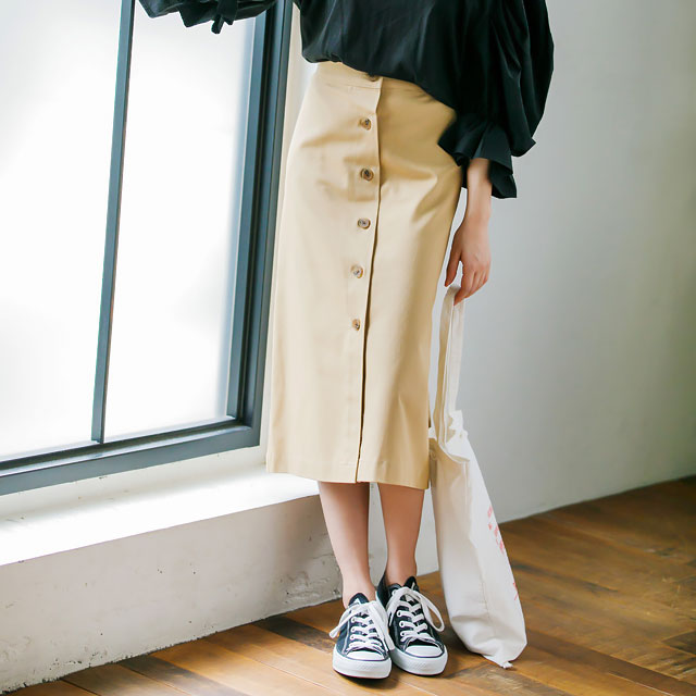 <FINAL SALE>front button chino skirt[172M]