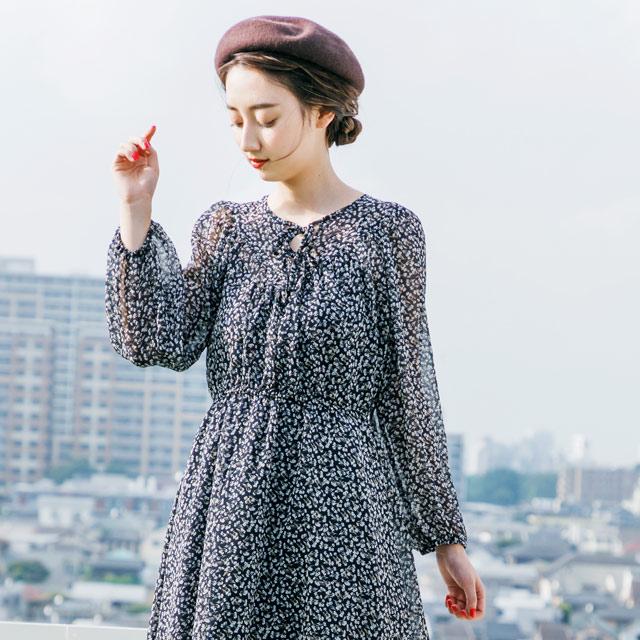【mamaGIRL冬号掲載】小花柄マキシワンピース(全2色)[175E]
