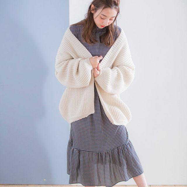 レトロ総柄ハイネックワンピース(全2色)[179E]