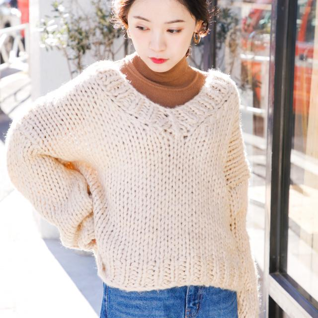 v-neck zakkuri knit[180C]