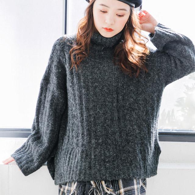 ≪トップス全品送料無料≫cable design rib knit[1823C]