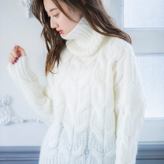 total cable turtleneck knit[1833C]