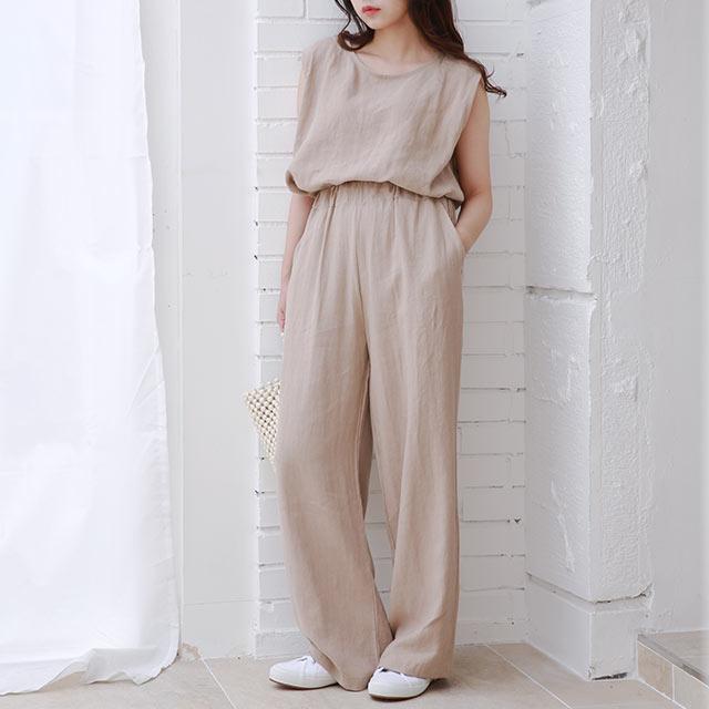 sleeveless blouse x tapered pants set[1835E]