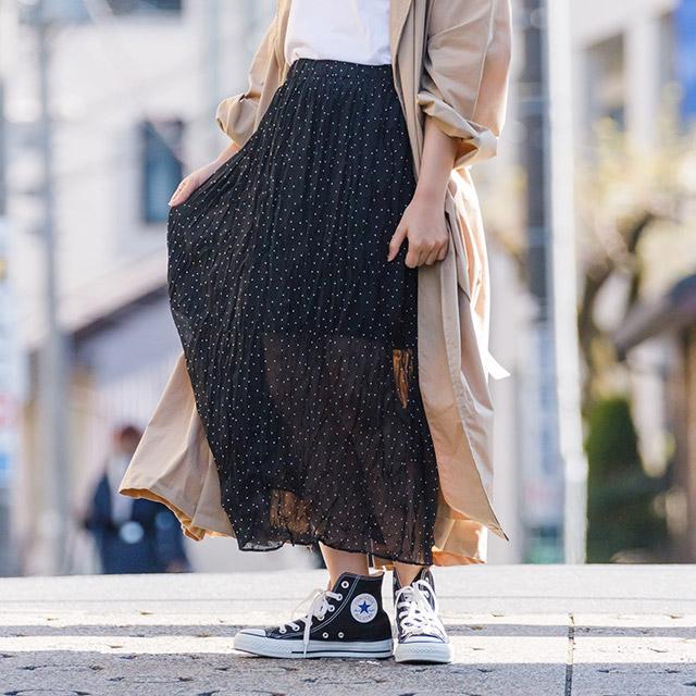<Summer Sale!!>dot chiffon skirt[1837M]