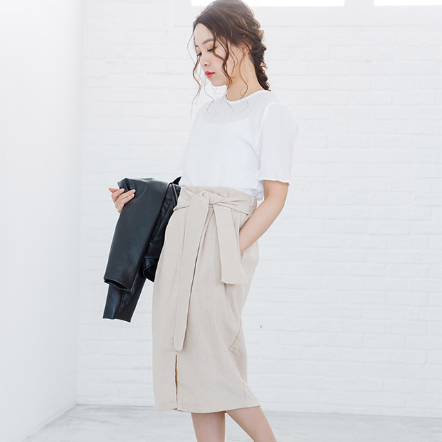 <Final Sale!!>waist tie pencil skirt[1856M]