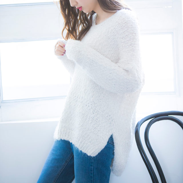 loop yarn V-neck knit[1859C]