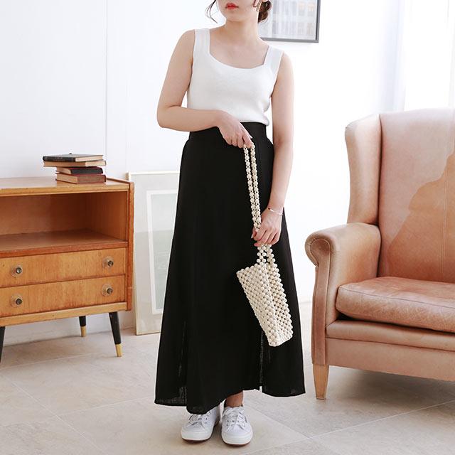 linen-like camisole x slit skirt set[1878E]