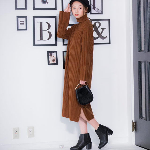 <FINAL SALE>high neck rib knit onepiece[190E]