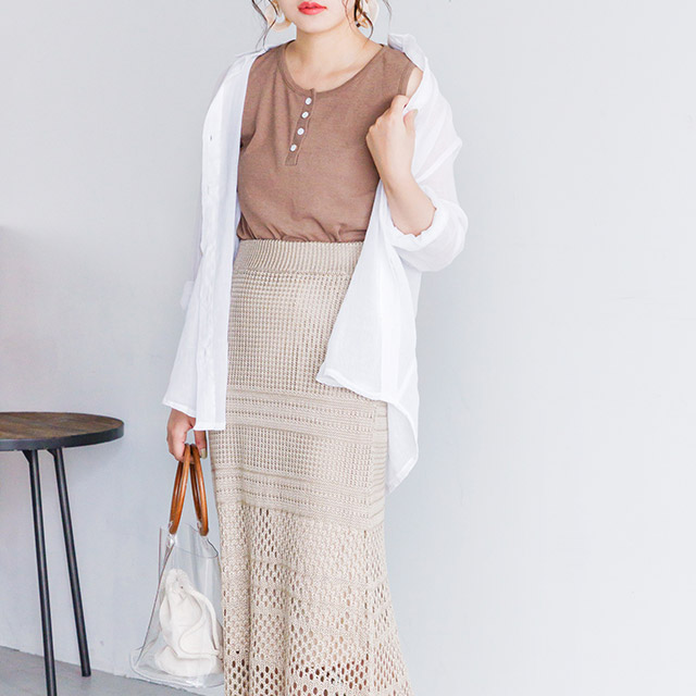 <Summer Sale!!>knitted skirt with knitted fabric switching[1937M]