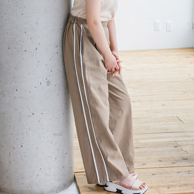 <bottom fair!!6/8(mon)am11:59まで>**rinko select**cotton hemp line pants[1952M]