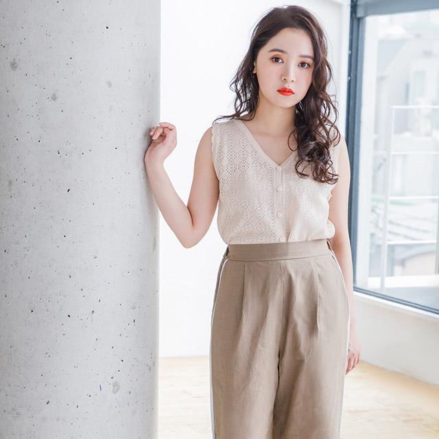**rinko select**cotton hemp line pants[1952M]