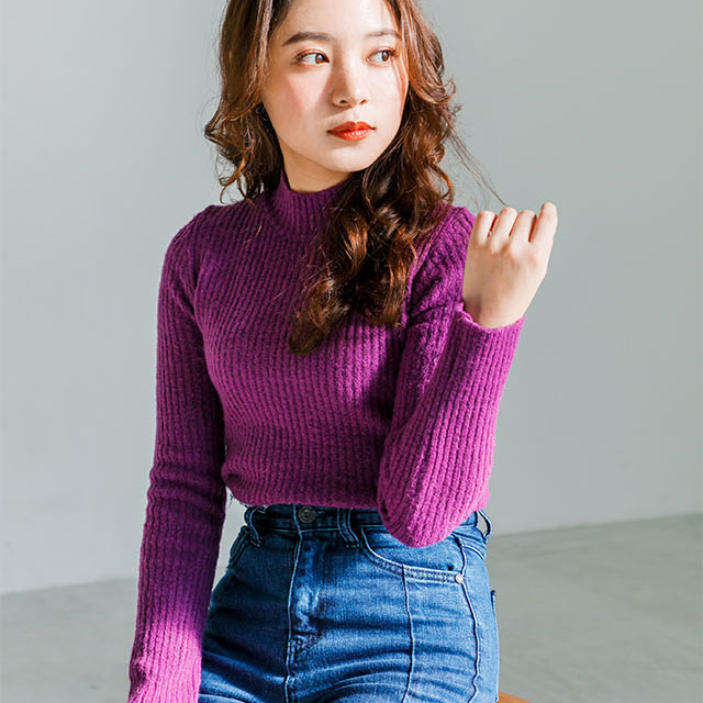<CLEARANCE SALE>simple rib high neck knit[1980C]