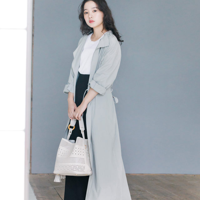 waist ribbon long blouson[198K]