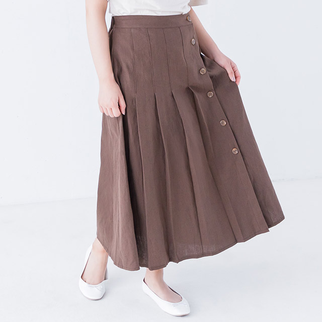 <Summer Sale!!>**rinko select**side button pleated skirt[1991M]