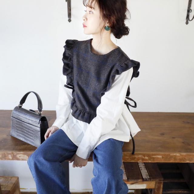 ビスチェ付きシャツトップス(全2色)[202C]