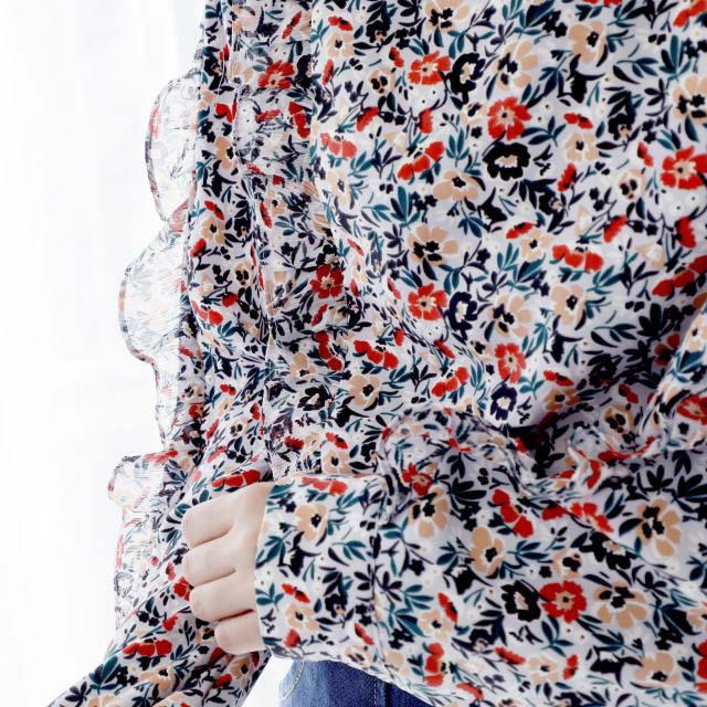 花柄フリルブラウス(全1色)[207C]