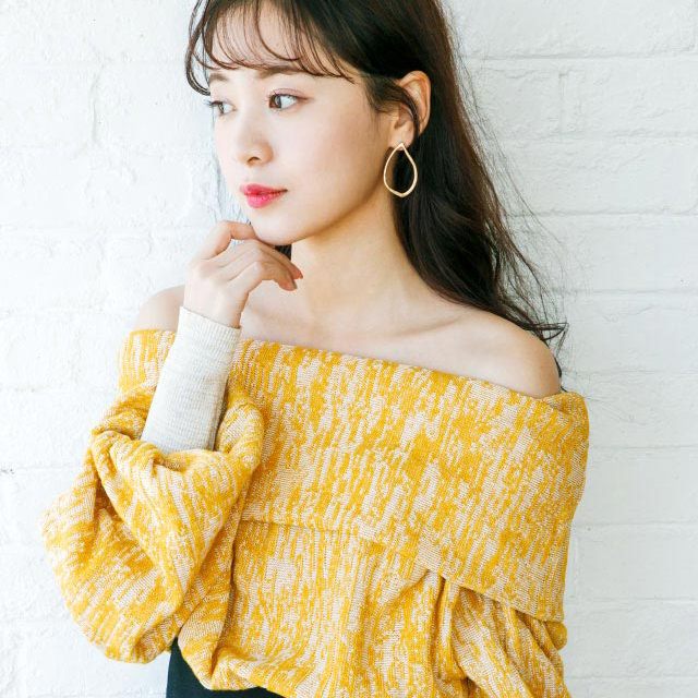 <CLEARANCE SALE>2way balloon sleeve off shoulder knit[208C]