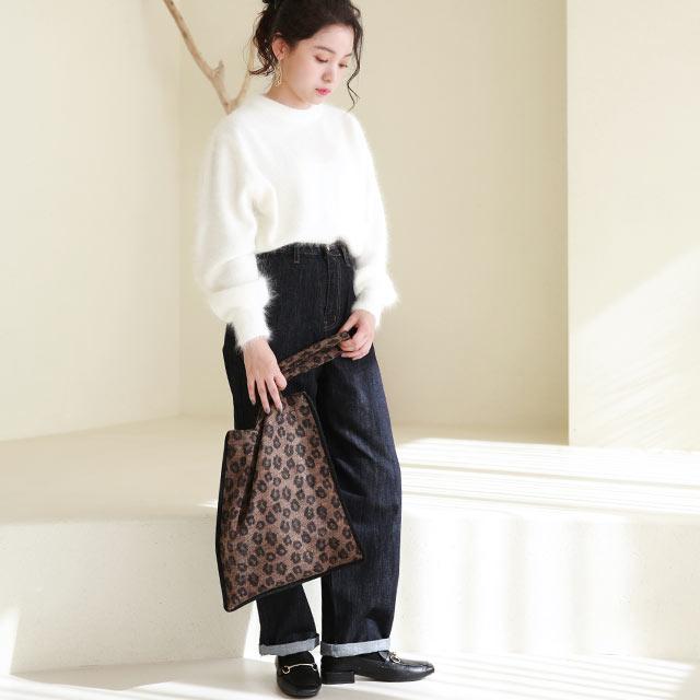 ≪店内全品ポイント7倍!!≫leopard piping tote bag[210B]