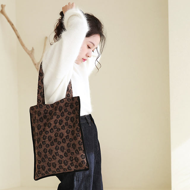 leopard piping tote bag[210B]