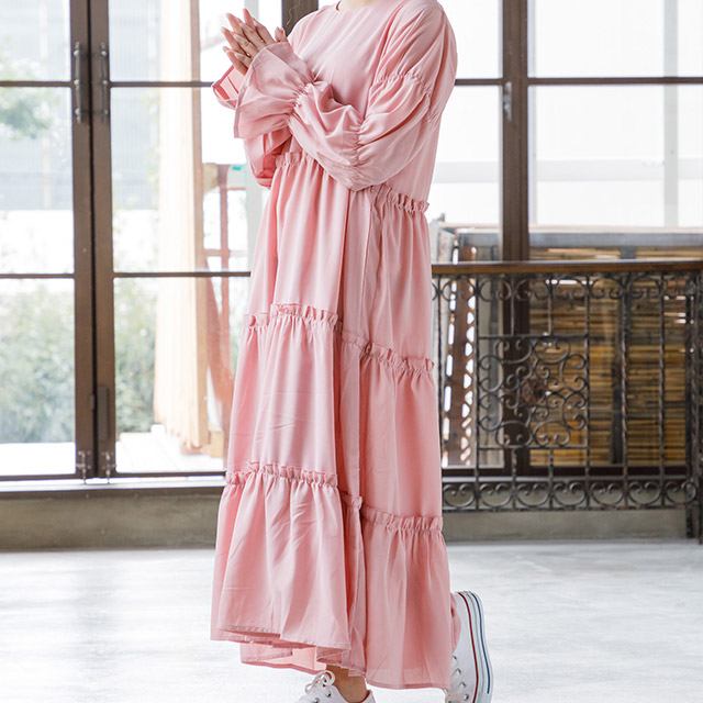 <CLEARANCE SALE>tiered long onepiece[210E]