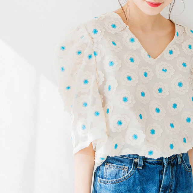 Half sleeve shisyu retro blouse[212C]