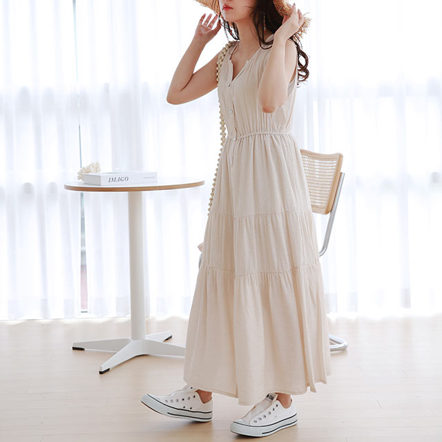 front button tiered onepiece[2138E]