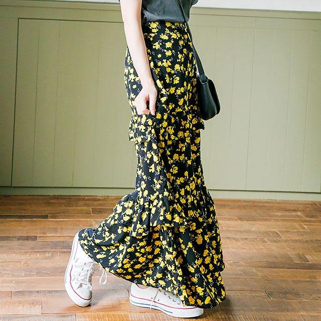 花柄ロングスカート(全2色)[213M]【7月下旬予約】
