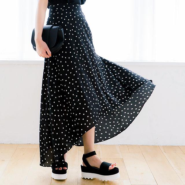 <Summer Sale!!>dot long skirt[214M]