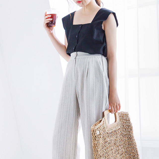 stripe straight wide pants[2168M]