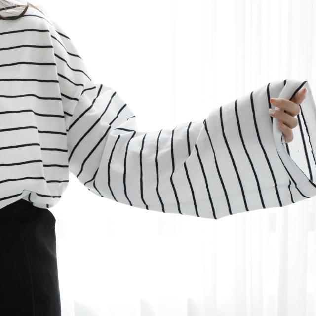 ワイド袖ボーダートップス(全3色)[216C]