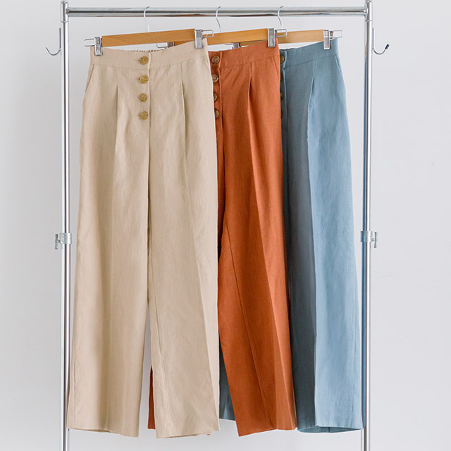 <bottom fair!!6/8(mon)am11:59まで><Sale!!>high waist button wide pants[2173M]