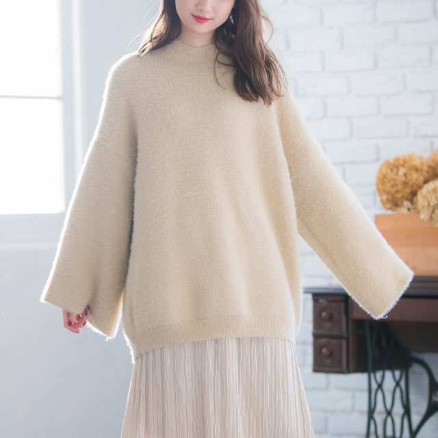 shaggy bottle neck knit tops[2209C]