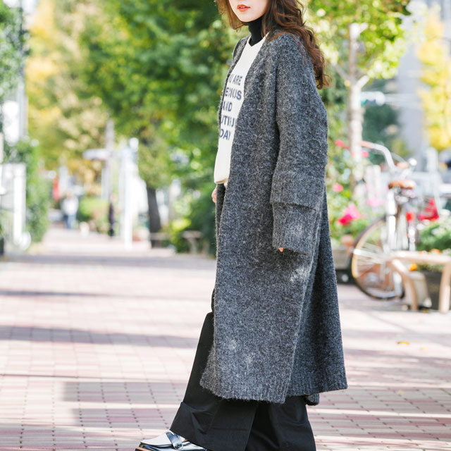 <CLEARANCE SALE>sleeve 2way long knit cardigan[2239C]