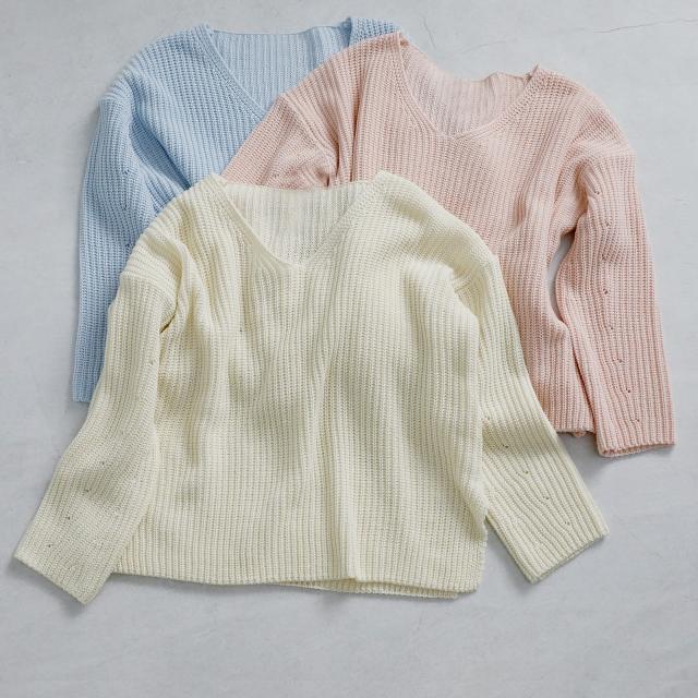 <FINAL SALE>pastel color v-neck knit[225C]