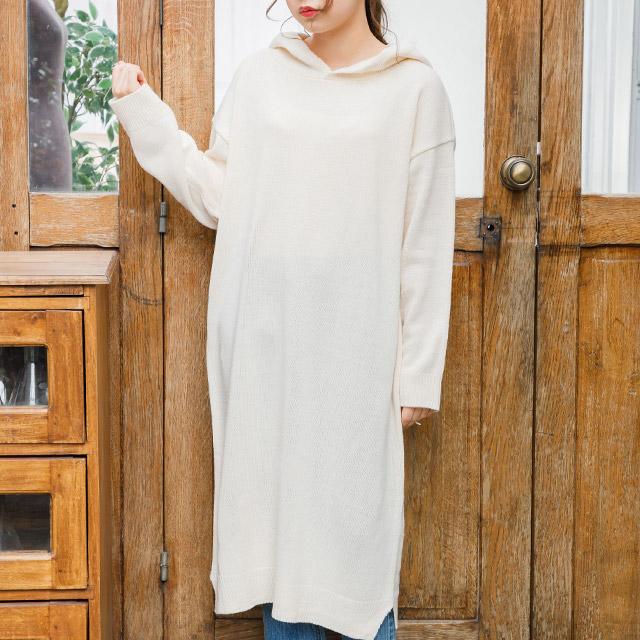 knit hoody dress[228E]