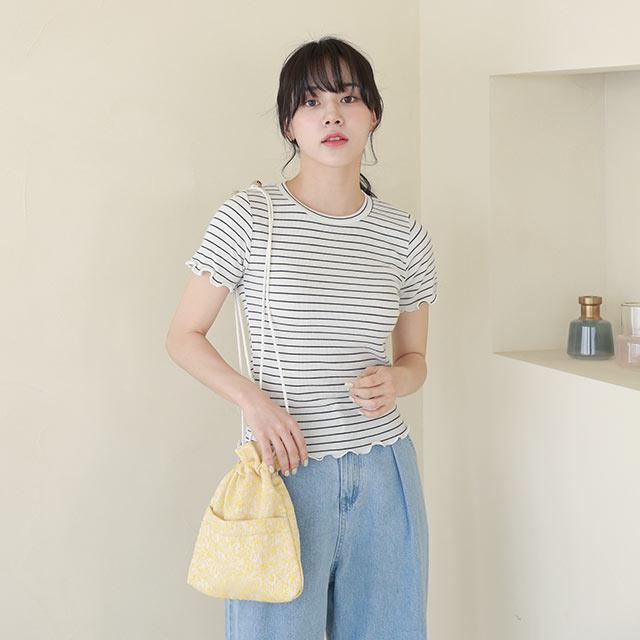 《CLEARANCE SALE!!》ラメ混ジャガード巾着バッグ[229B]